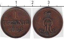 Изображение Монеты Ганновер 1 пфенниг 1853 Медь
