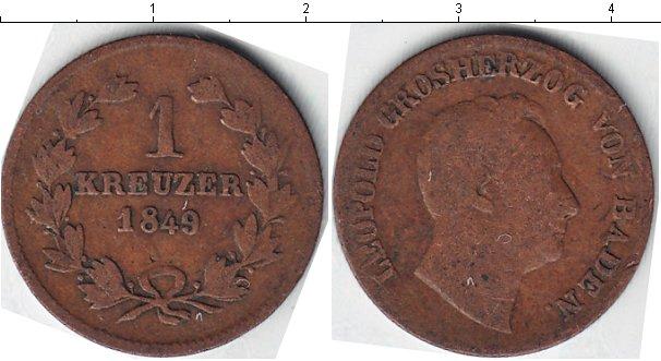 Картинка Монеты Баден 1 крейцер Медь 1849