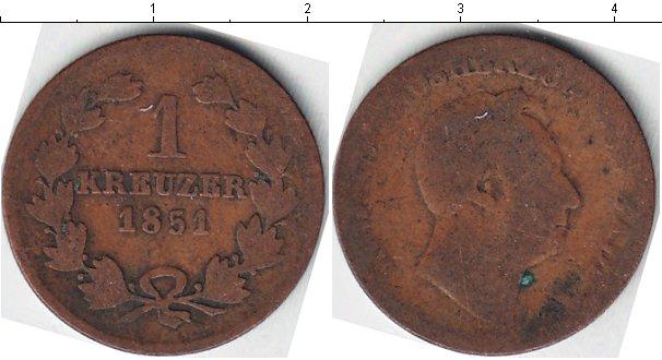 Картинка Монеты Баден 1 крейцер Медь 1851