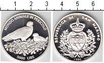 Изображение Мелочь Сан-Марино 5.000 лир 1996 Серебро Proof Птички