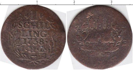 Картинка Монеты Гамбург 1 шиллинг Серебро 1738