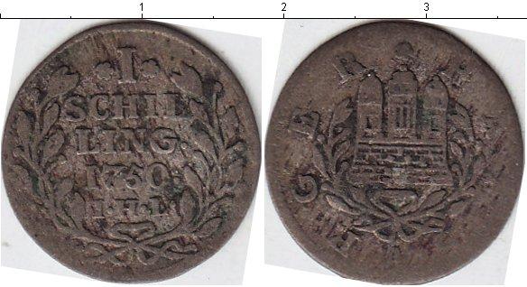 Картинка Монеты Гамбург 1 шиллинг Серебро 1750