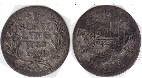 Картинка Монеты Гамбург 1 шиллинг Серебро 1758