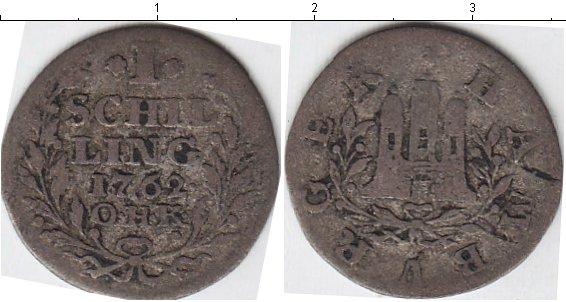 Картинка Монеты Гамбург 1 шиллинг Серебро 1762