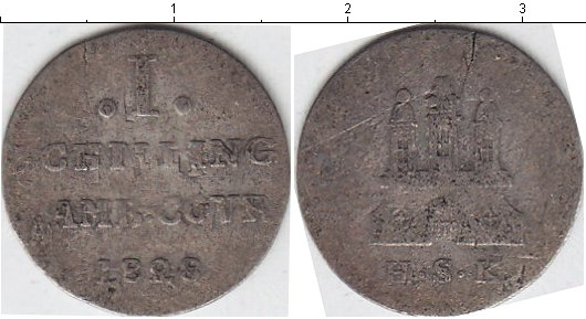 Картинка Монеты Гамбург 1 шиллинг Серебро 1823