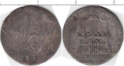 Картинка Монеты Гамбург 1 шиллинг Серебро 1851