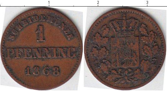 Картинка Монеты Бавария 1 пфенниг Медь 1868