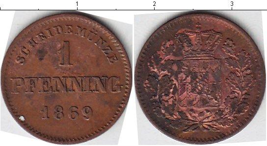 Картинка Монеты Бавария 1 пфенниг Медь 1869