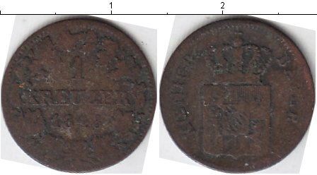 Картинка Монеты Бавария 1 крейцер Серебро 1848