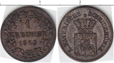 Картинка Монеты Бавария 1 крейцер Серебро 1863