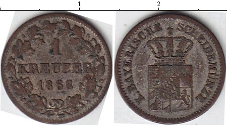 Картинка Монеты Бавария 1 крейцер Серебро 1868