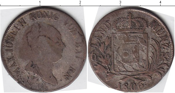 Картинка Монеты Бавария 6 крейцеров Серебро 1806