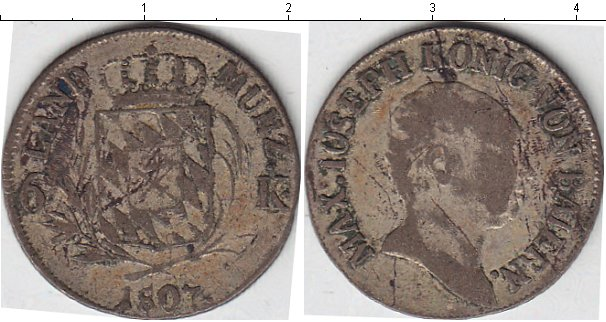 Картинка Монеты Бавария 6 крейцеров Серебро 1807
