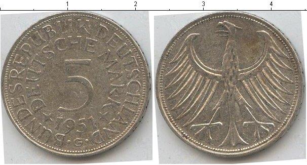 Картинка Монеты Германия 5 марок Серебро 1951