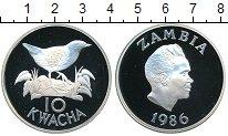 Изображение Монеты Замбия 10 квач 1986 Серебро Proof Птичка