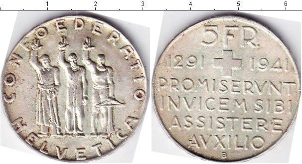 Картинка Монеты Швейцария 5 франков Серебро 1941