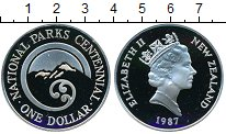 Изображение Монеты Новая Зеландия 1 доллар 1987 Серебро Proof Национальный парк