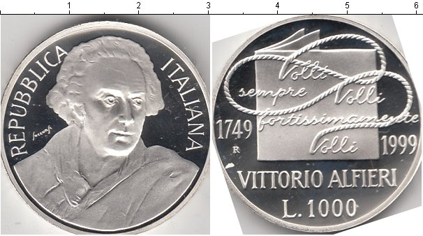 Картинка Монеты Италия 1.000 лир Серебро 1999