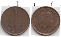 Изображение Мелочь Нидерланды 1 цент 1968 Медь VF Юлиана