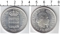 Изображение Монеты Монако 10 франков 1966 Серебро UNC-