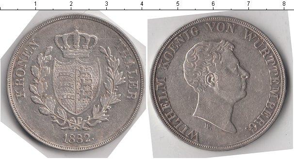 Картинка Монеты Вюртемберг 1 талер Серебро 1832