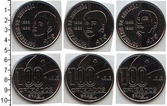 Изображение Наборы монет Бразилия Бразилия 1988 1988 Медно-никель UNC- В наборе 3 монеты по
