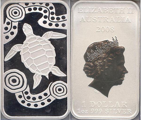 Картинка Подарочные монеты Австралия Австралийская черепаха Серебро 2008