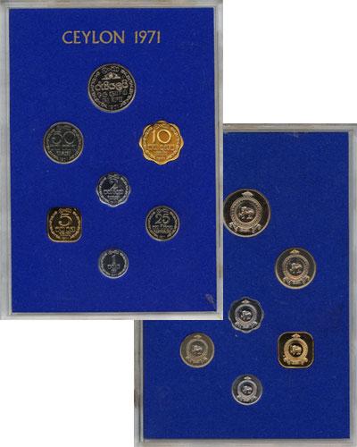 Изображение Подарочные монеты Цейлон Выпуск 1971 года 1971  Proof Подарочный набор 197