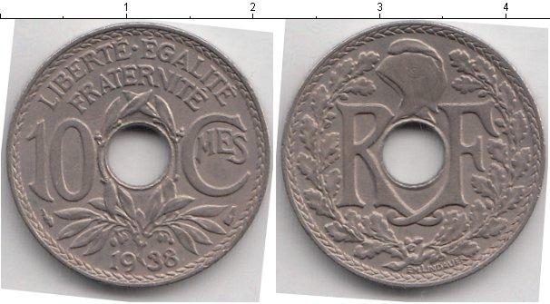 Картинка Мелочь Франция 10 сантим Медно-никель 1938