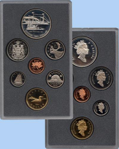 Изображение Подарочные монеты Канада Памятный набор 1991 года 1991  Proof В наборе 7 монет Кан