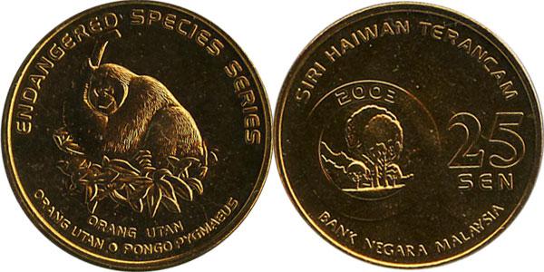 Картинка Подарочные монеты Малайзия 25 сен  2003