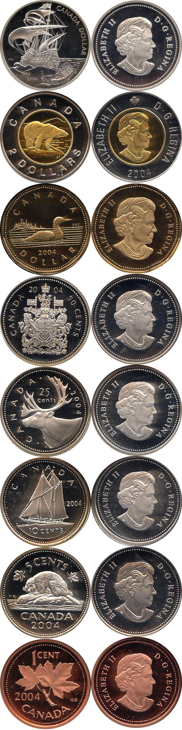 Картинка Подарочные наборы Канада Набор монет 2004 года  2004