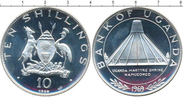 Картинка Монеты Уганда 10 шиллингов Серебро 1969