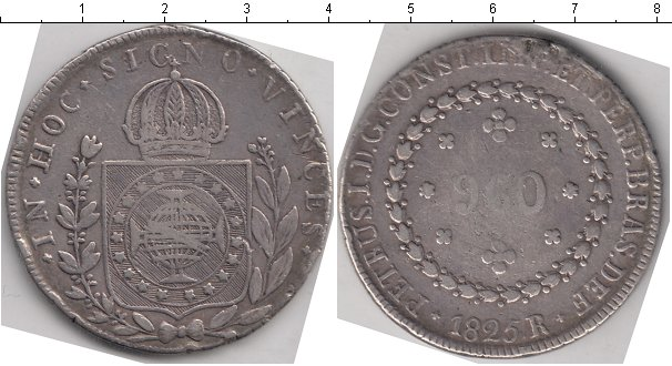 Картинка Монеты Бразилия 960 рейс Серебро 1825