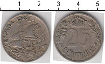 Изображение Мелочь Испания 25 сентим 1925 Медно-никель VF