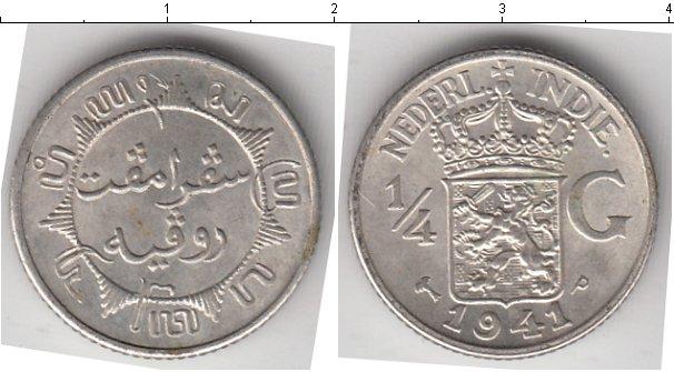 Картинка Мелочь Нидерландская Индия 1/4 гульдена Серебро 1941