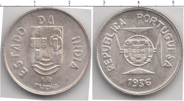 Картинка Монеты Португальская Индия 1/2 рупии Серебро 1936