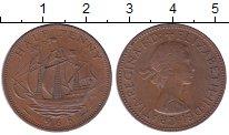 Изображение Мелочь Великобритания 1/2 пенни 1967 Медь XF Королева Елизавета I