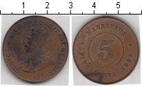Изображение Монеты Маврикий 5 центов 1922 Медь  Георг V