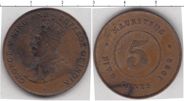 Картинка Монеты Маврикий 5 центов Медь 1922