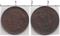 Изображение Монеты Маврикий 1 цент 1877 Медь XF Королева Виктория