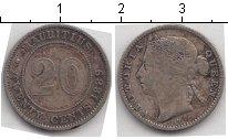 Изображение Монеты Маврикий 20 центов 1889 Серебро XF Королева Виктория