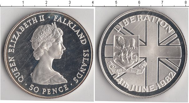 Картинка Монеты Фолклендские острова 50 пенсов Серебро 1982