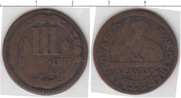 Картинка Монеты Мюнстер 3 пфеннига Медь 1740