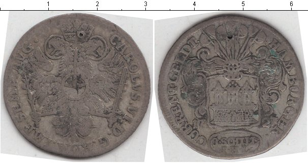 Картинка Монеты Гамбург 8 шиллингов Серебро 1727