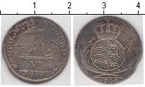 Изображение Монеты Вюртемберг 6 крейцеров 1809 Серебро