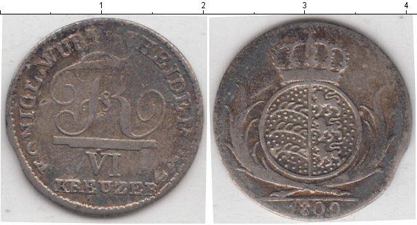 Картинка Монеты Вюртемберг 6 крейцеров Серебро 1809