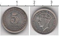 Изображение Мелочь Малайя 5 центов 1941 Серебро XF Король Георг VI
