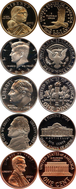 Подарочный набор монет сша набор монет 2003 года в качетсве .