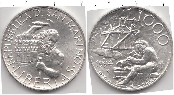 Картинка Монеты Сан-Марино 1.000 лир Серебро 1994
